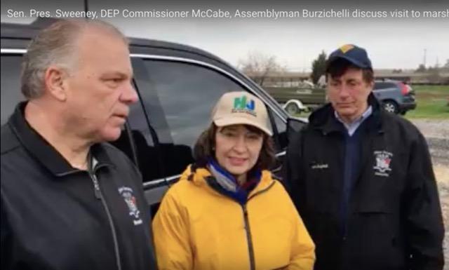 (L-R) Senate President Sweeney; Acting DEP Commissioner McCabe; Assemblyman Burzichelli (Source: YouTube)