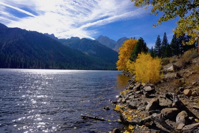 Twin Lakes, at base of Sawtooth mountains