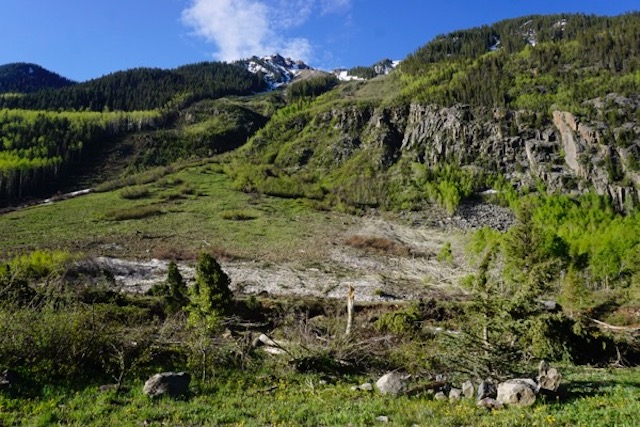 this avalanche was recent. Trees mowed down like toothpicks.