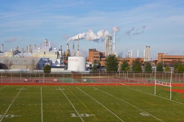 refinery adjacent to Paulsboro High school just one part of massive metro-chemcial complex
