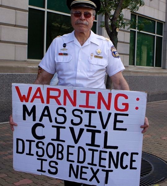 Protestor at Obama event, Scranton Pa.  (8/11/15)