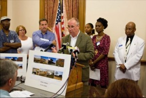 Camden EJ activist  press conference - Wolfe talks about Corzine policy on schools on toxic waste sites (2008?)